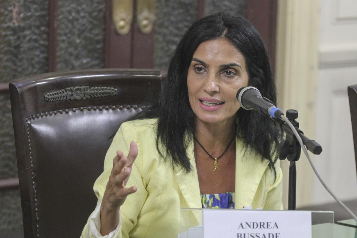 política de inclusão - andrea bussade falando no microfone