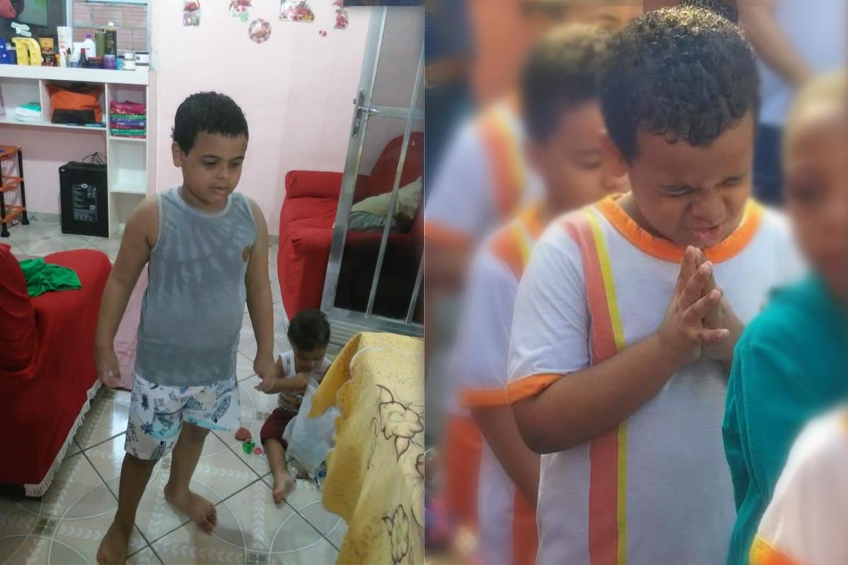 autismo na familia: Abraão em dois momentos, em casa e na escola, fazendo uma oração