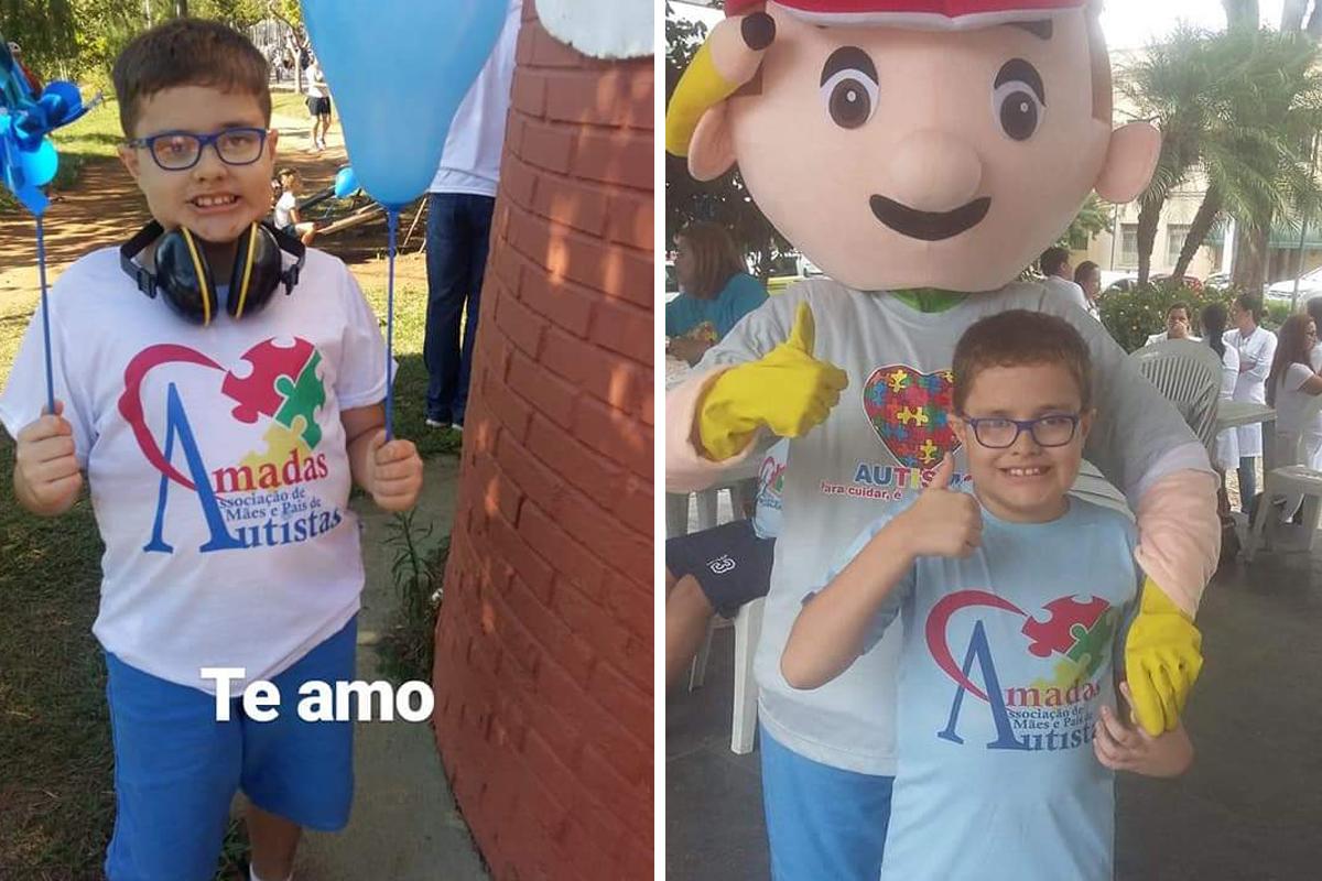 Duas fotos de Nicolas em momentos diferentes, ao ar livre, utilizando camiseta com o logotipo da associação AMADAS
