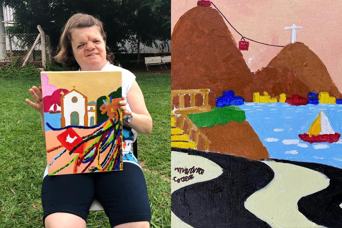 Mulher autista pintora